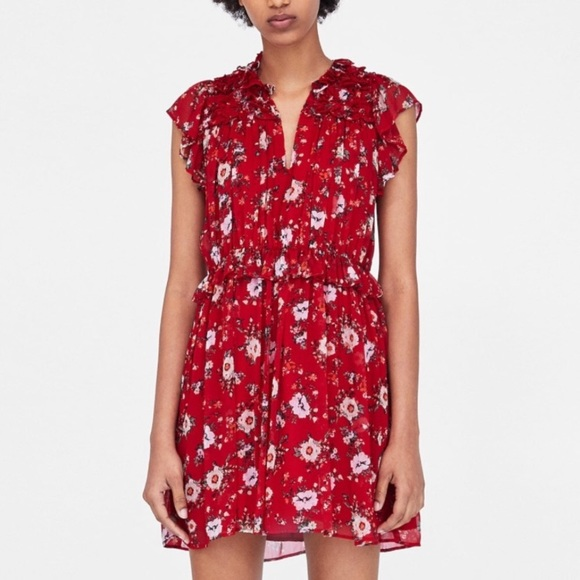 5053e1635ed Zara Red Floral Ruffle Mini Dress